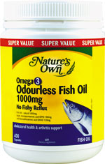 Natures own omega 3 odourless fish oil 1000mg natural for Does fish oil help with joint pain